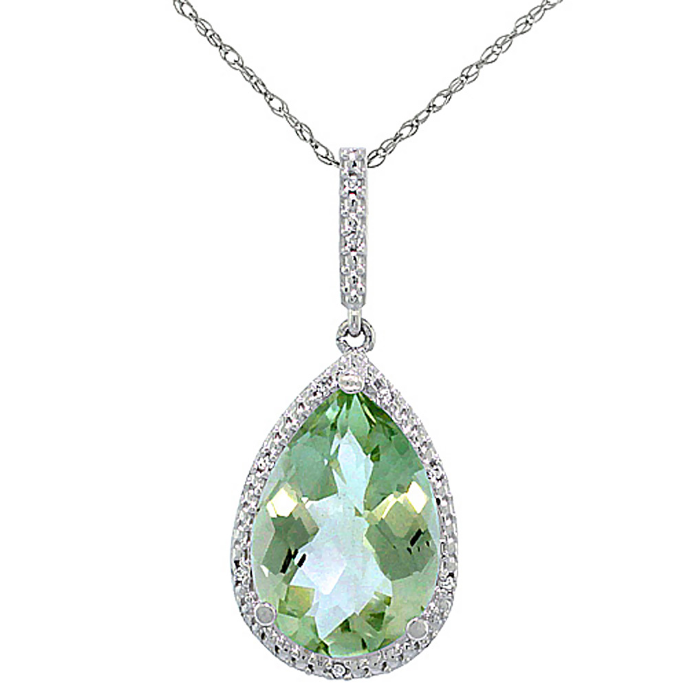 10K White Gold Diamond Halo Natural Green Amethyst Necklace Pear Shaped 15x10 mm, 18 inch long
