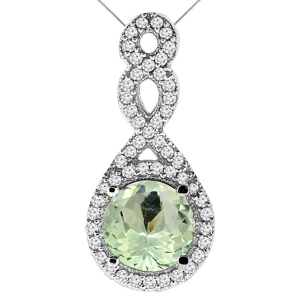 10K White Gold Natural Green Amethyst Eternity Pendant Round 7x7mm with 18 inch Gold Chain