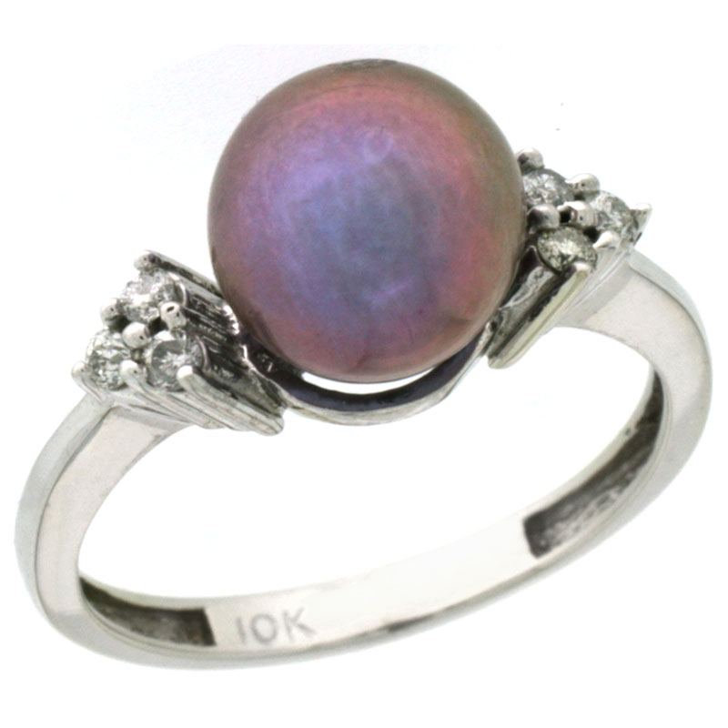 14k White Gold 8.5 mm Pink Pearl Ring w/ 0.105 Carat Brilliant Cut Diamonds, 7/16 in. (11mm) wide