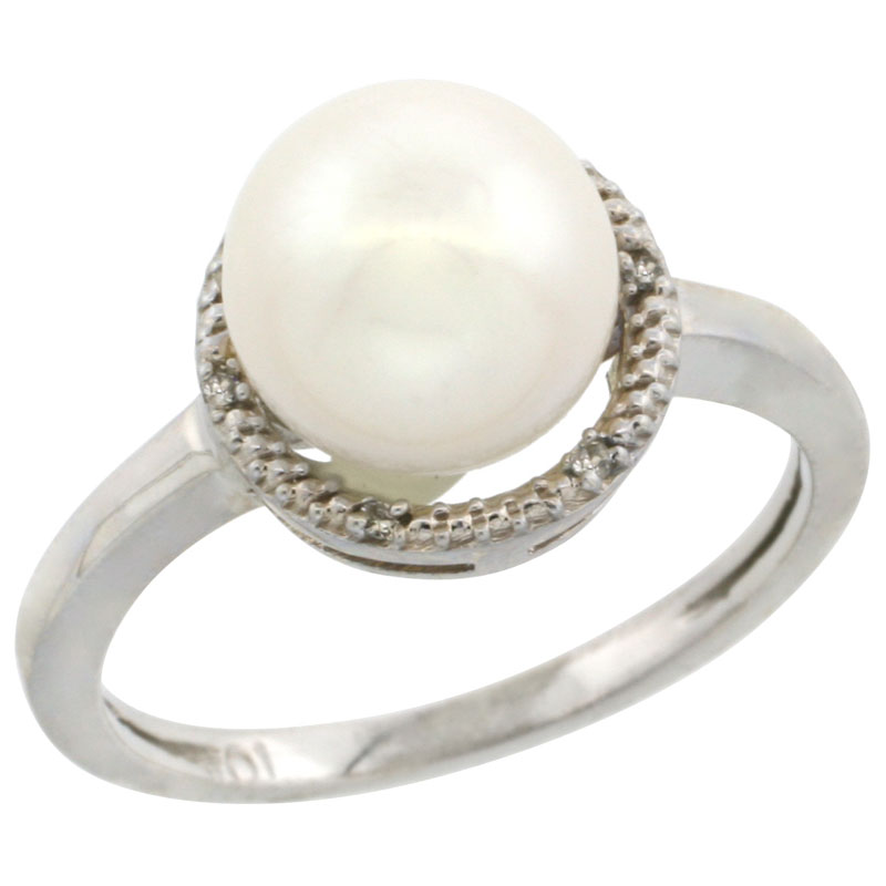 10k White Gold Halo Engagement 8.5 mm White Pearl Ring w/ 0.022 Carat Brilliant Cut Diamonds, 7/16 in. (11mm) wide