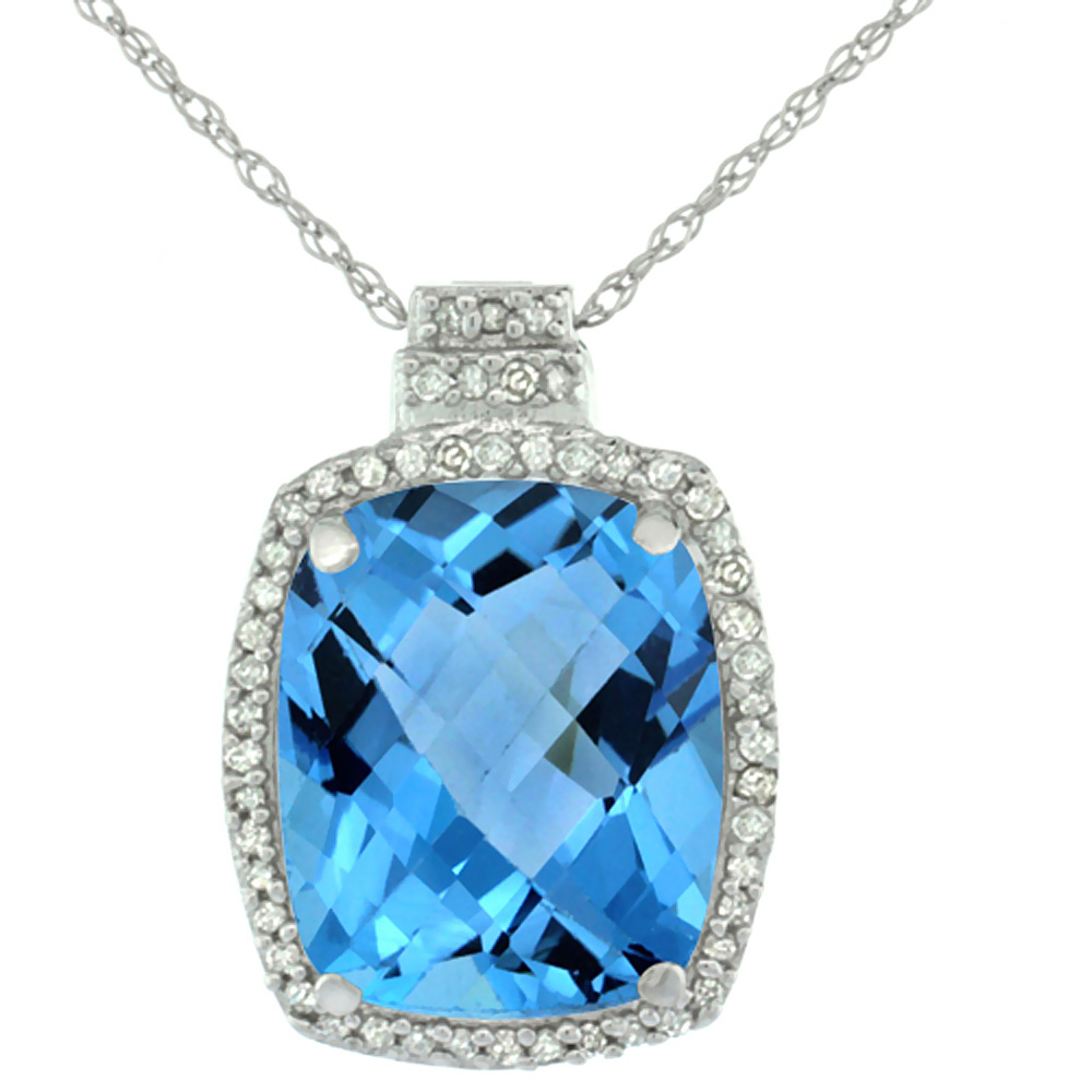 10K White Gold 0.20 cttw Diamond Natural Swiss Blue Topaz Pendant Octagon Cushion 11x9 mm