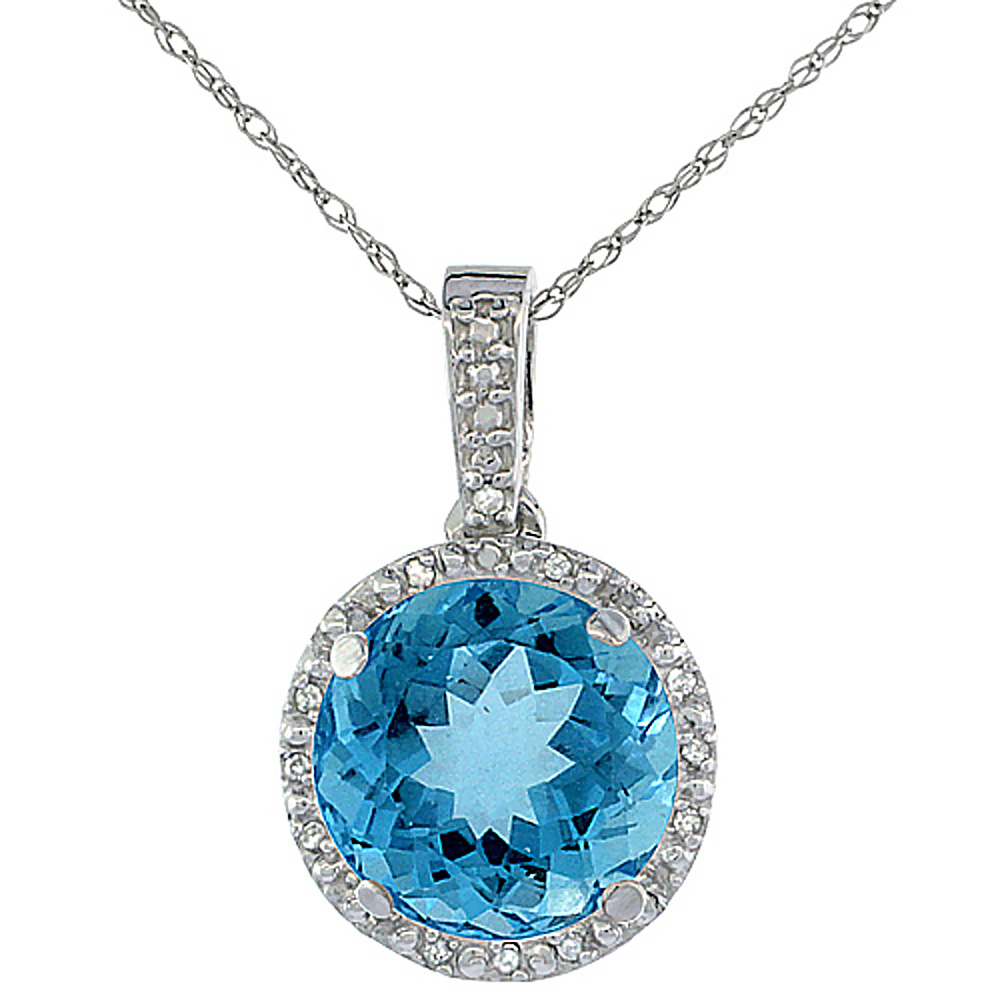 10K White Gold 0.03 cttw Diamond Natural Swiss Blue Topaz Pendant Round 11x11 mm