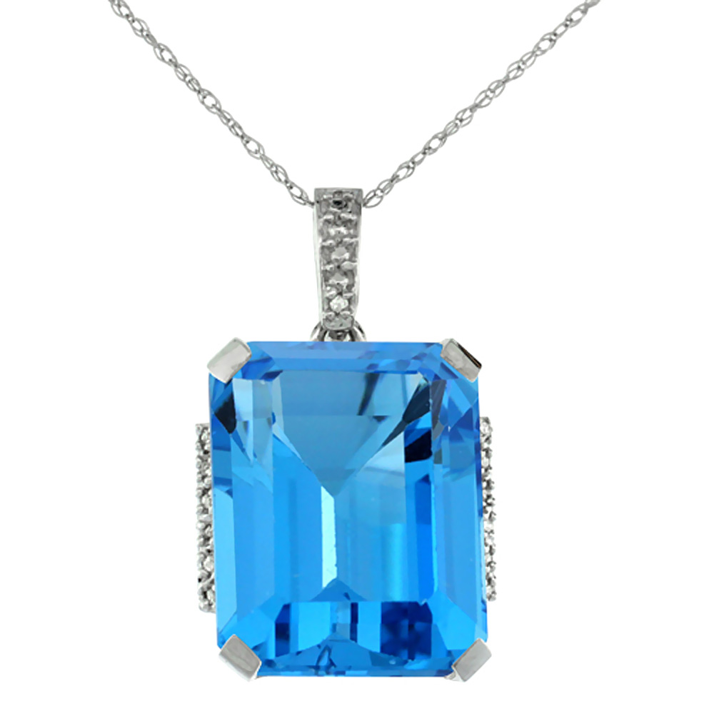 10K White Gold Natural Swiss Blue Topaz Pendant Octagon 16x12 mm & Diamond Accents