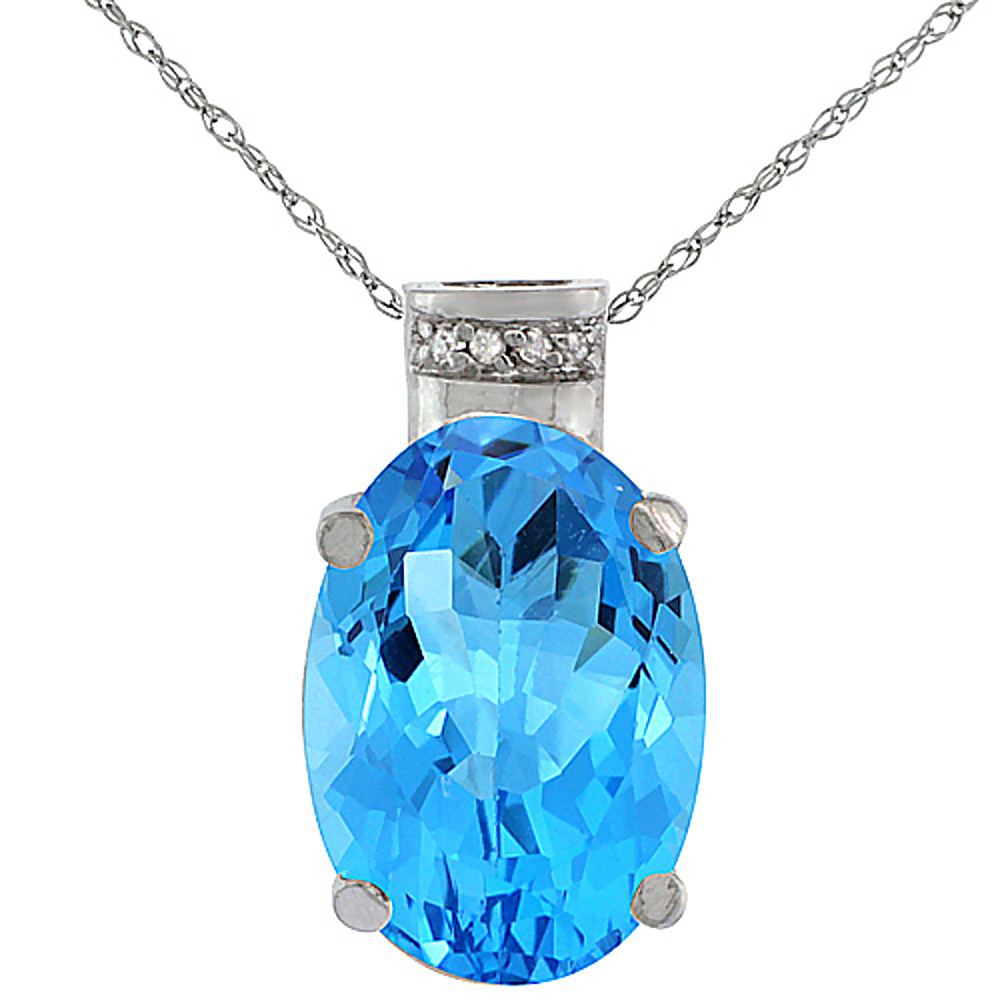 10K White Gold Diamond Natural Swiss Blue Topaz Pendant Oval 14x10 mm