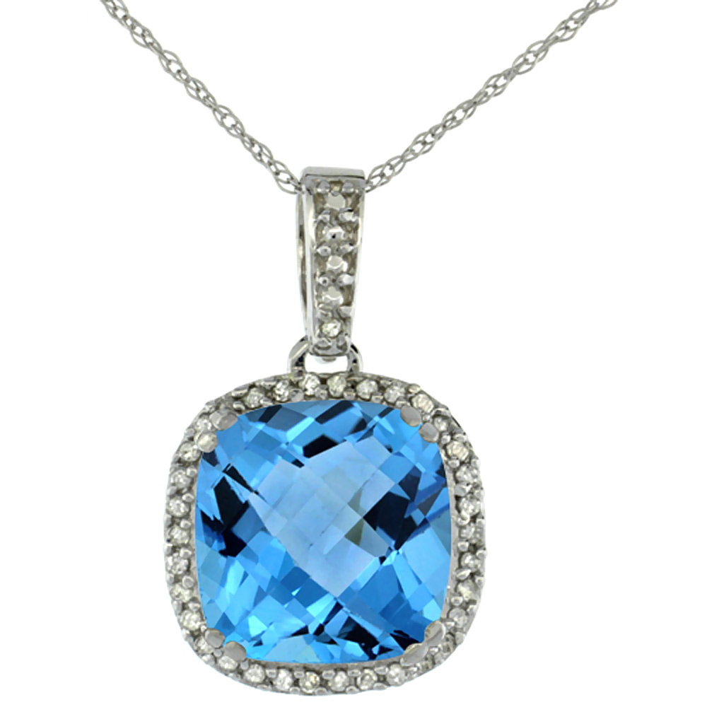 10k White Gold Diamond Halo Natural Swiss Blue Topaz Necklace Cushion Shaped 10x10mm, 18 inch long
