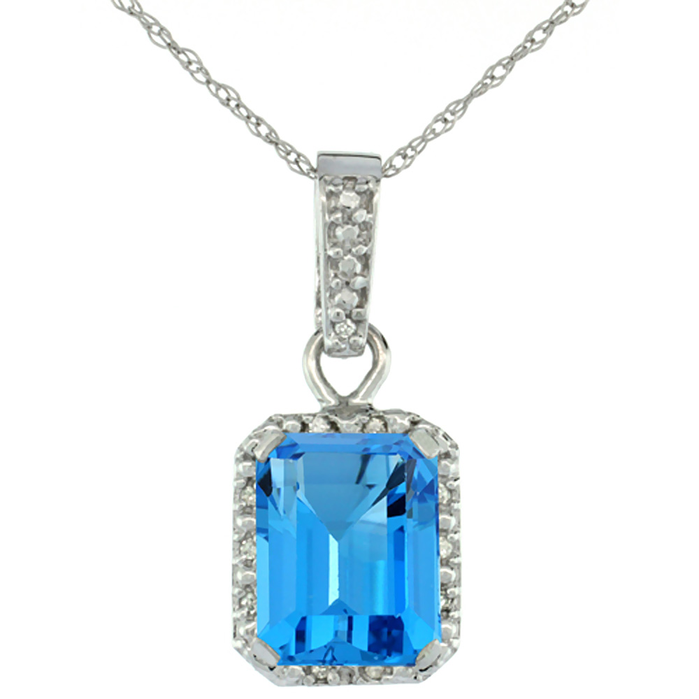 10K White Gold Natural Swiss Blue Topaz Pendant Octagon 8x6 mm & Diamond Accents