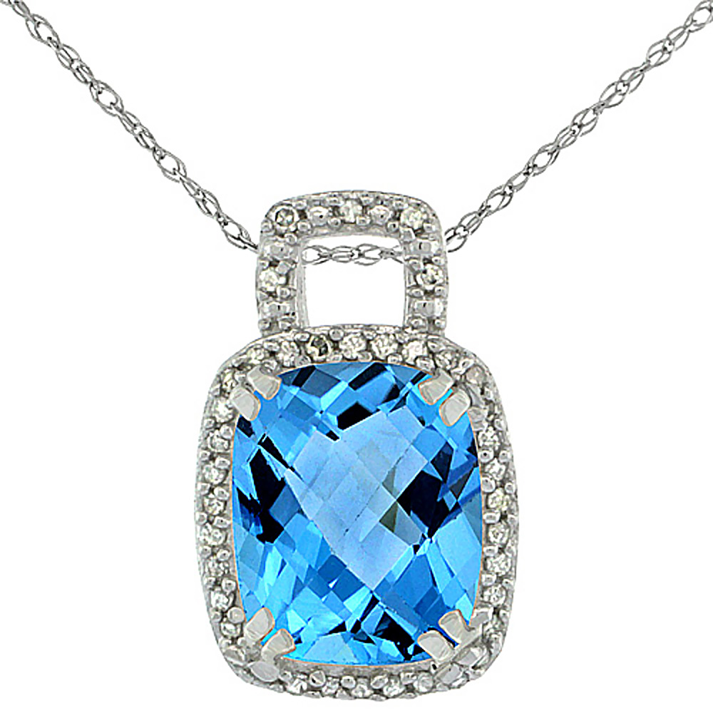 10K White Gold Natural Swiss Blue Topaz Pendant Octagon Cushion 10x8 mm & Diamond Accents