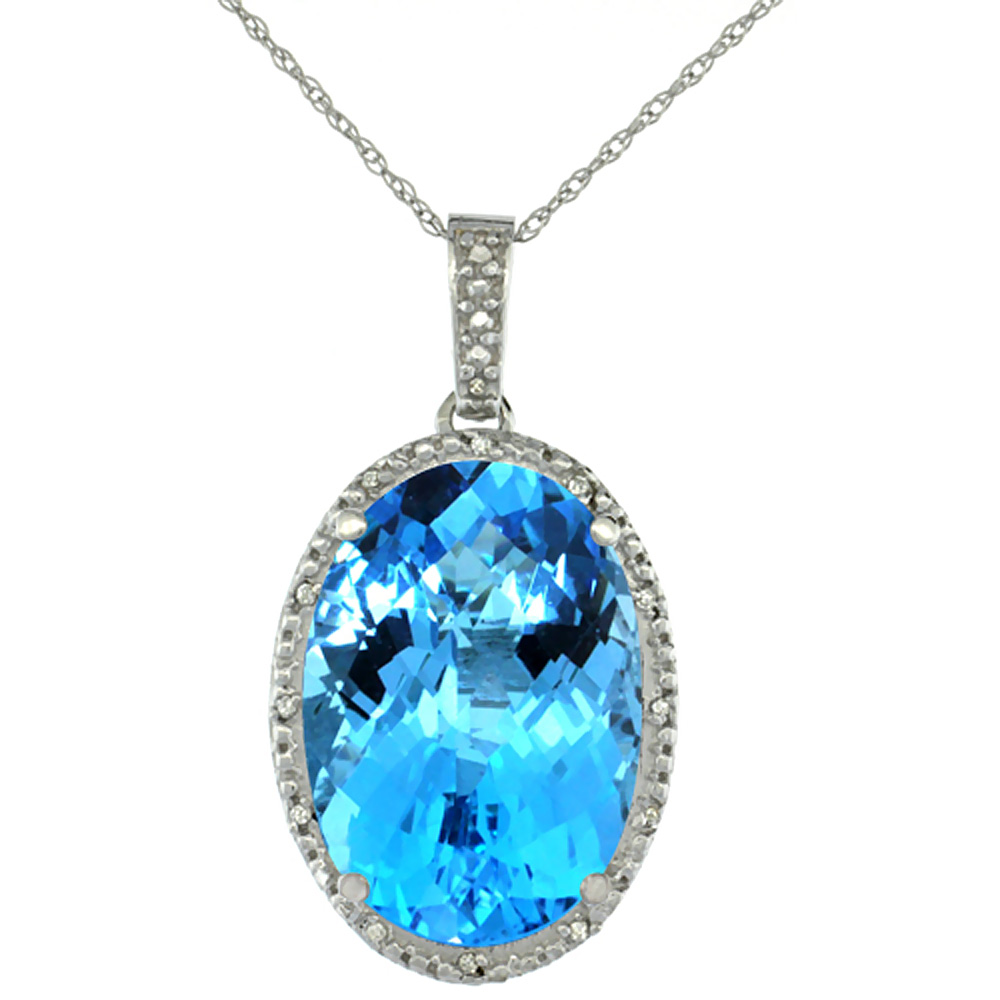 10K White Gold Diamond Natural Swiss Blue Topaz Pendant Oval 18x13 mm