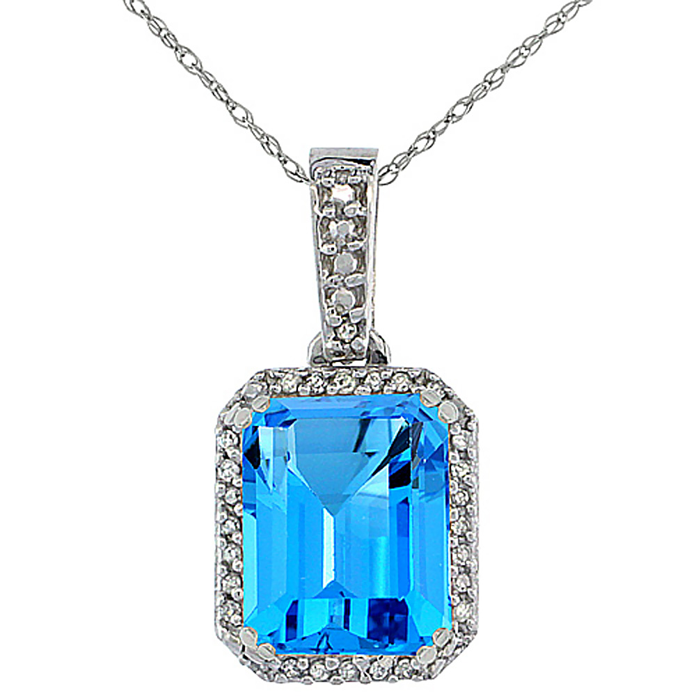 10K White Gold Diamond Natural Swiss Blue Topaz Pendant Octagon 9x7 mm