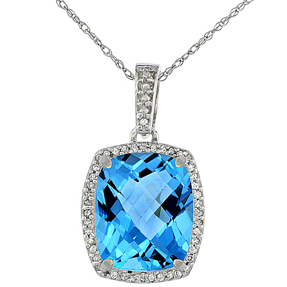 10K White Gold Natural Swiss Blue Topaz Pendant Octagon Cushion 12x10 mm