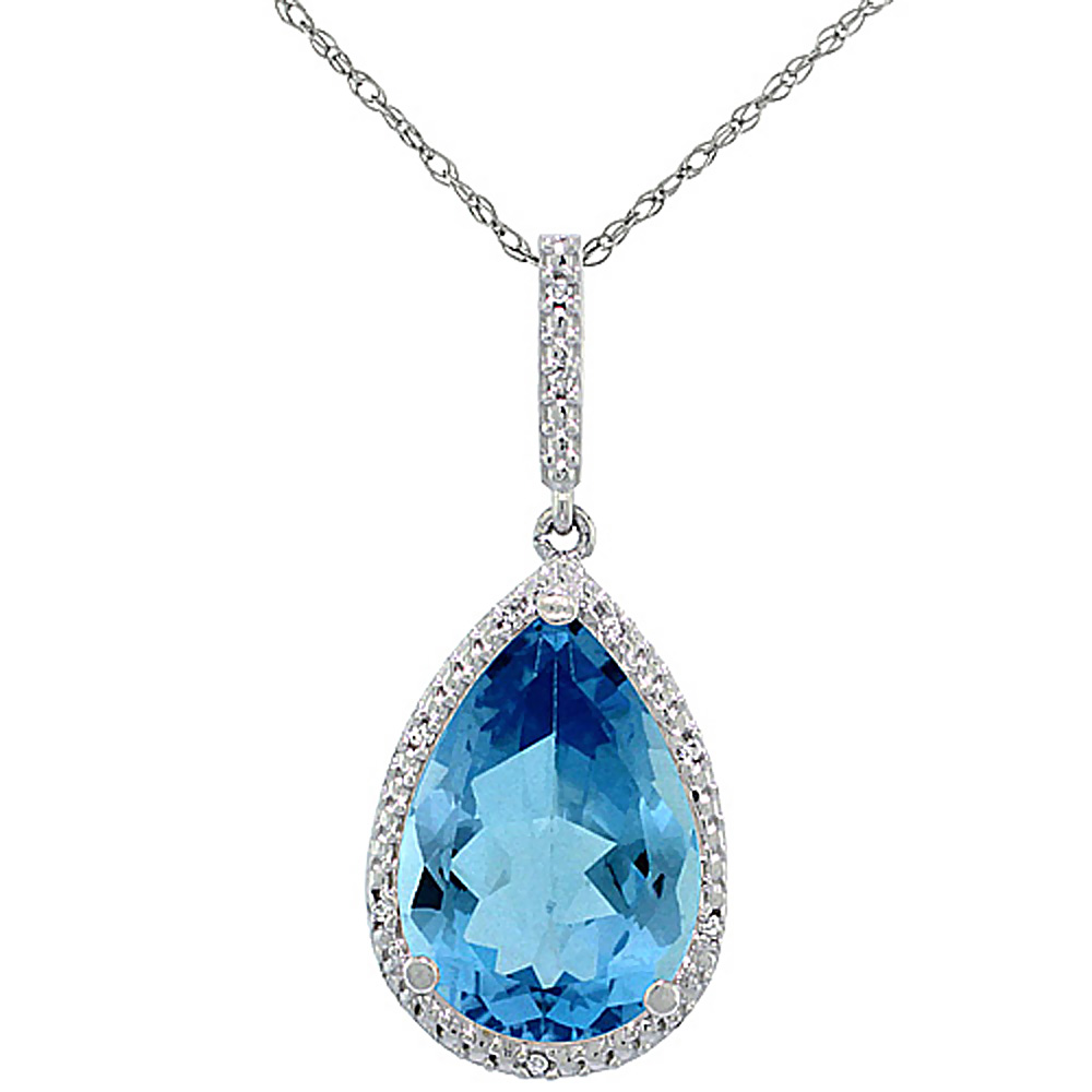 10K White Gold Diamond Halo Natural Swiss Blue Topaz Necklace Pear Shaped 15x10 mm, 18 inch long