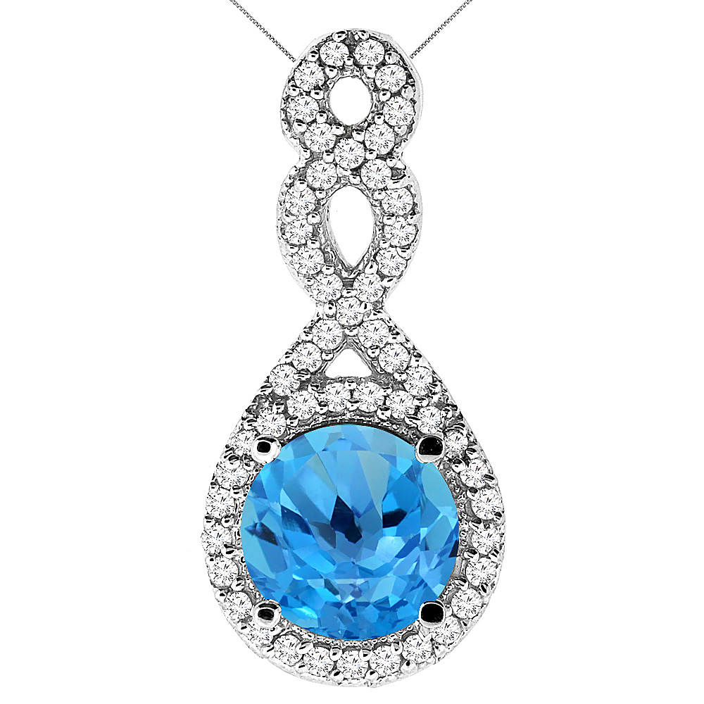10K White Gold Natural Swiss Blue Topaz Eternity Pendant Round 7x7mm with 18 inch Gold Chain