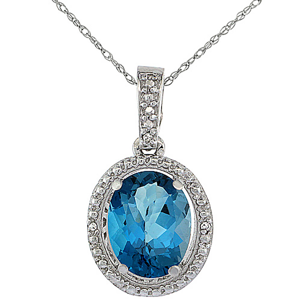 10K White Gold 0.09 cttw Diamond Natural London Blue Topaz Pendant Oval 10x8 mm
