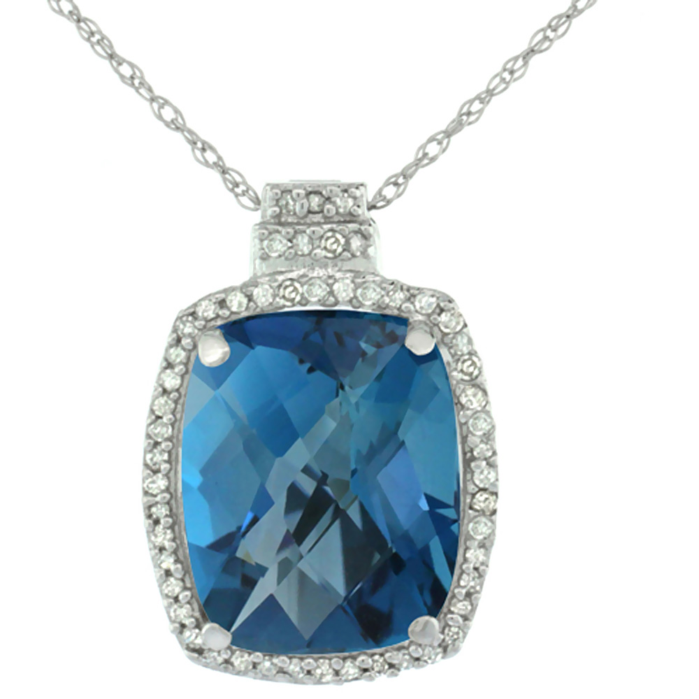 10K White Gold 0.20 cttw Diamond Natural London Blue Topaz Pendant Octagon Cushion 11x9 mm