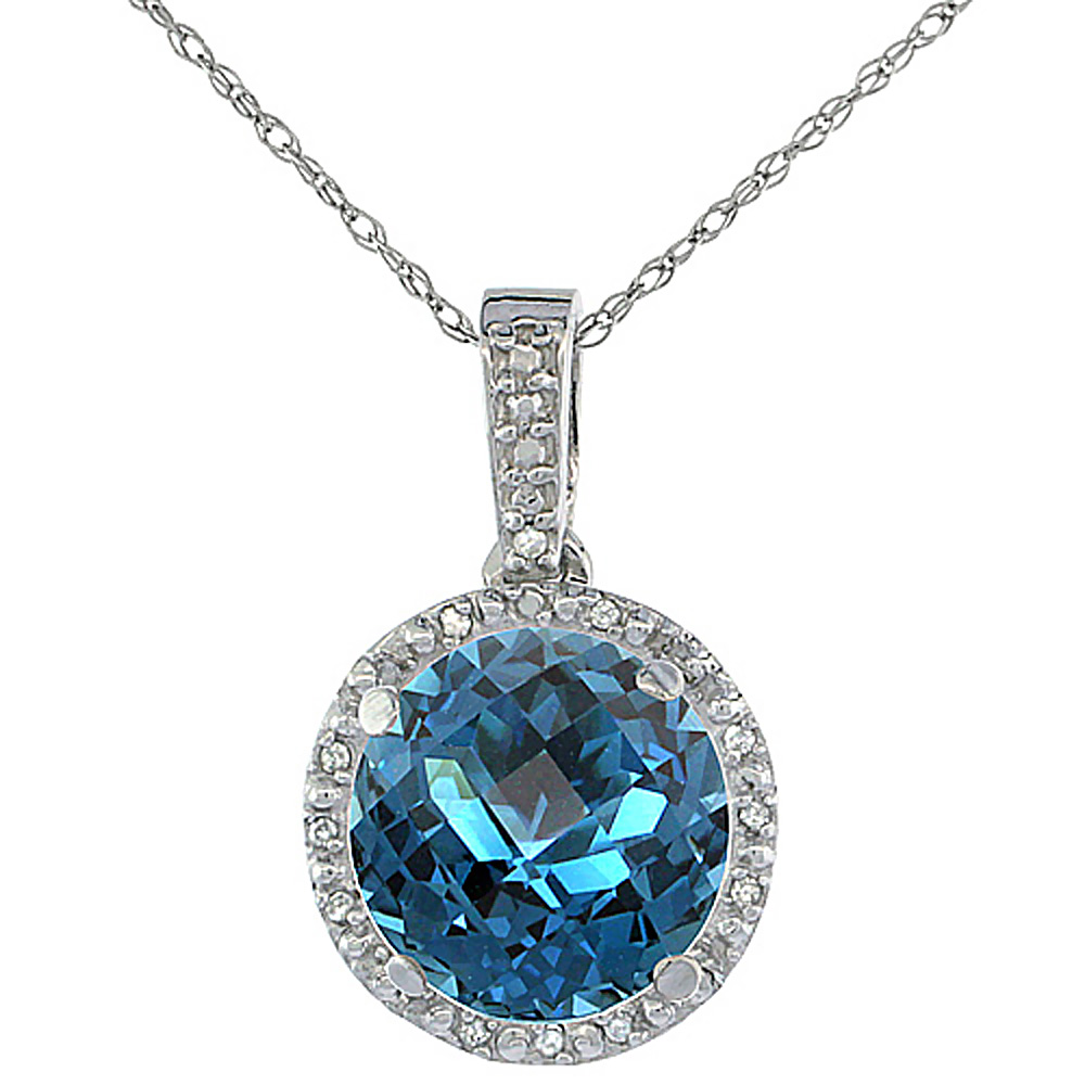 10K White Gold 0.03 cttw Diamond Natural London Blue Topaz Pendant Round 11x11 mm