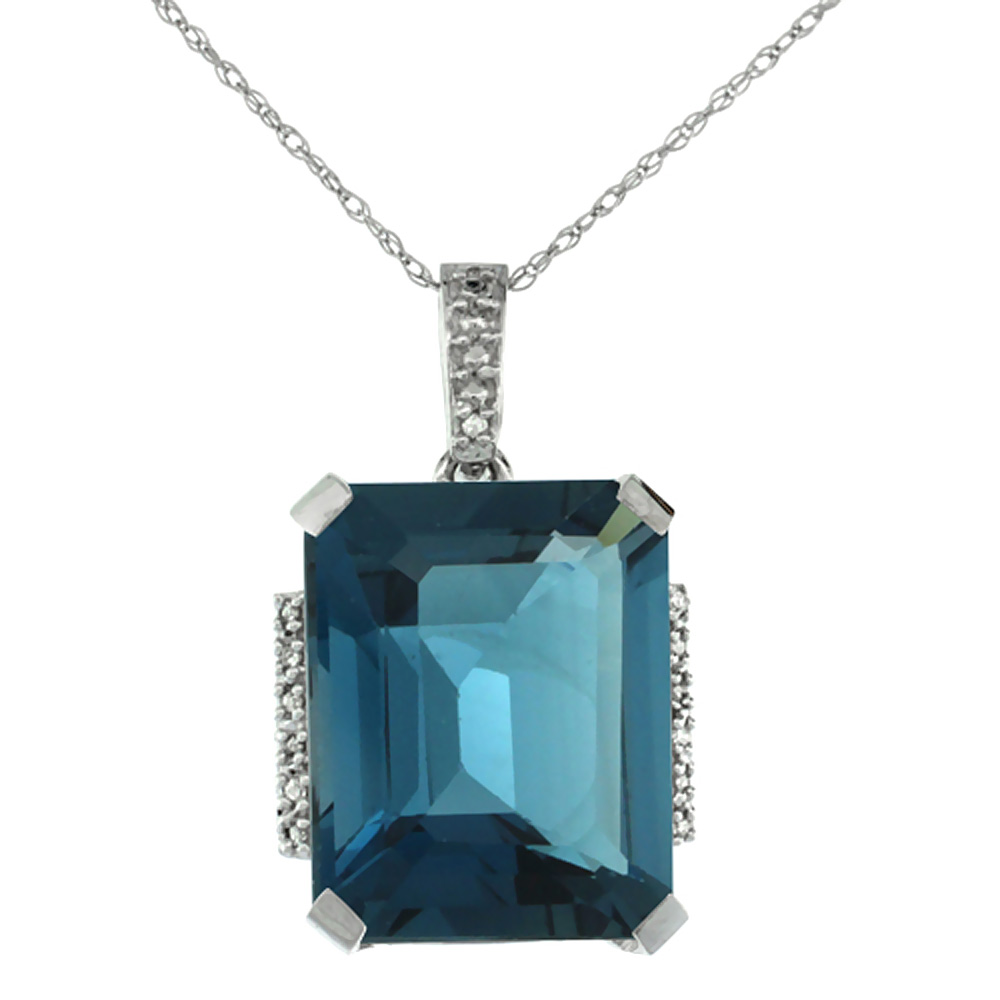 10K White Gold Natural London Blue Topaz Pendant Octagon 16x12 mm & Diamond Accents