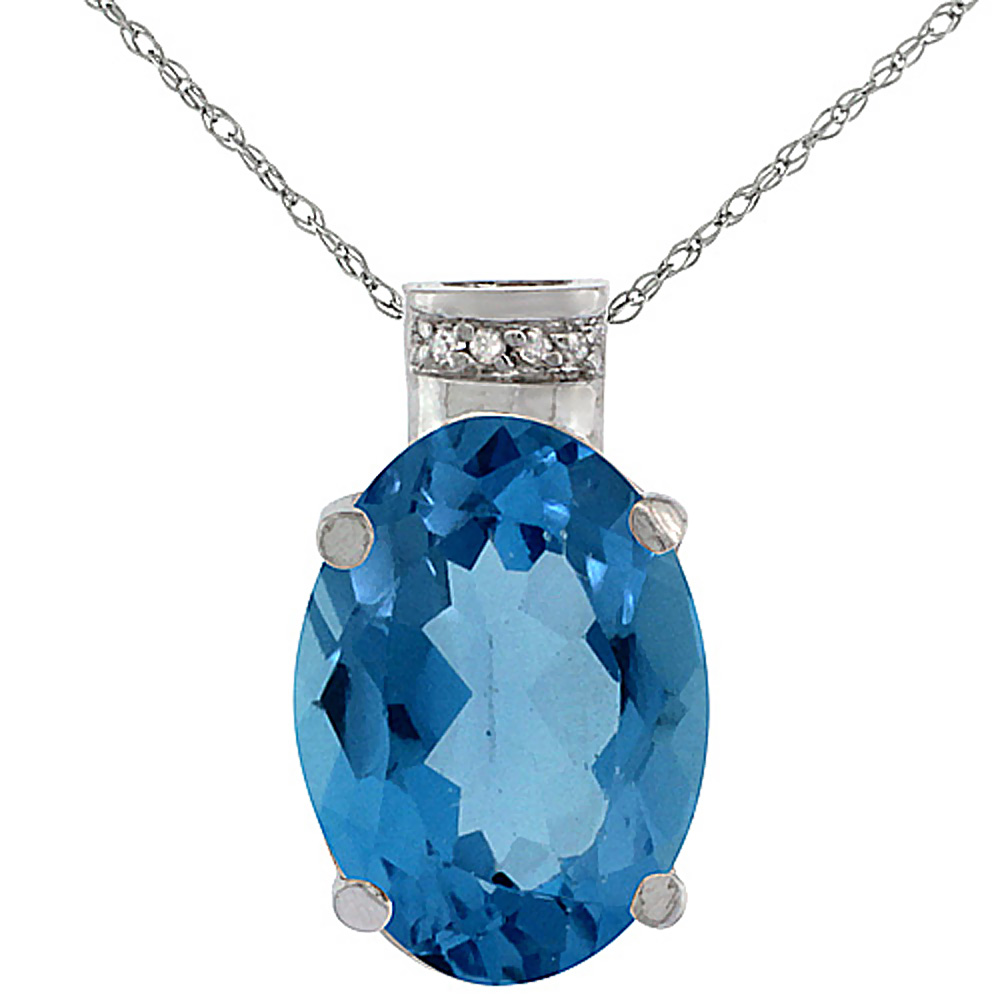 10K White Gold Diamond Natural London Blue Topaz Pendant Oval 14x10 mm