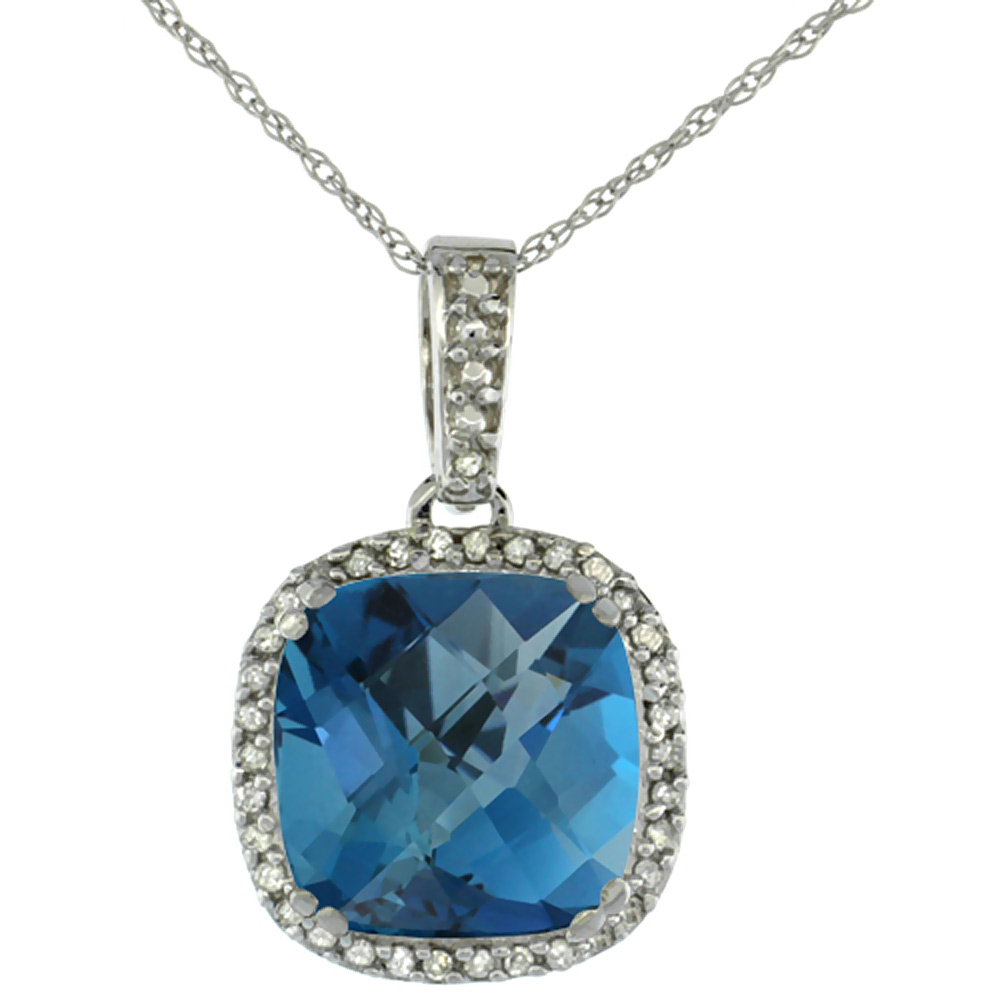 10k White Gold Diamond Halo Natural London Blue Topaz Necklace Cushion Shaped 10x10mm, 18 inch long