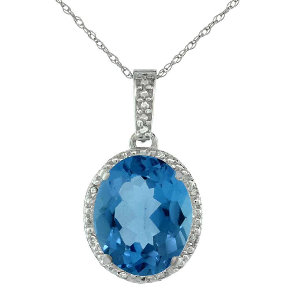 10K White Gold Diamond Halo Natural London Blue Topaz Necklace Oval 12x10 mm, 18 inch long