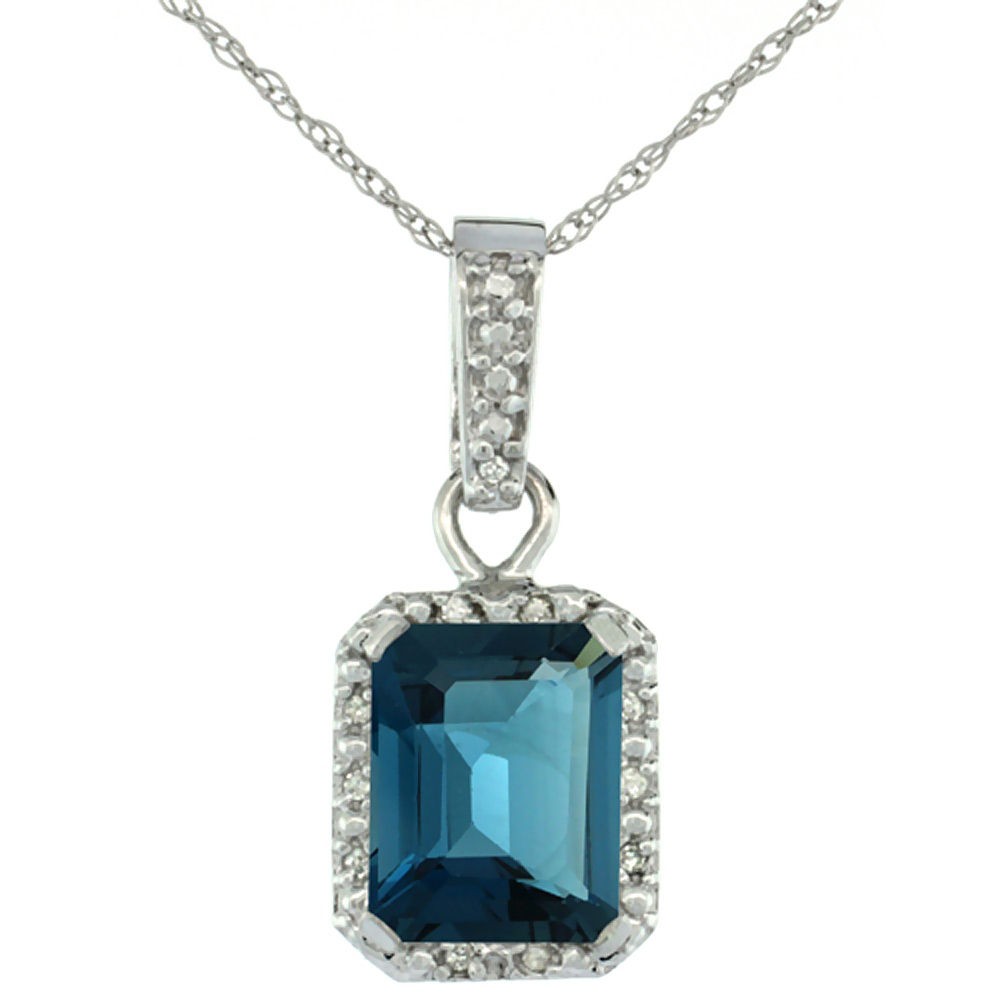 10K White Gold Natural London Blue Topaz Pendant Octagon 8x6 mm & Diamond Accents