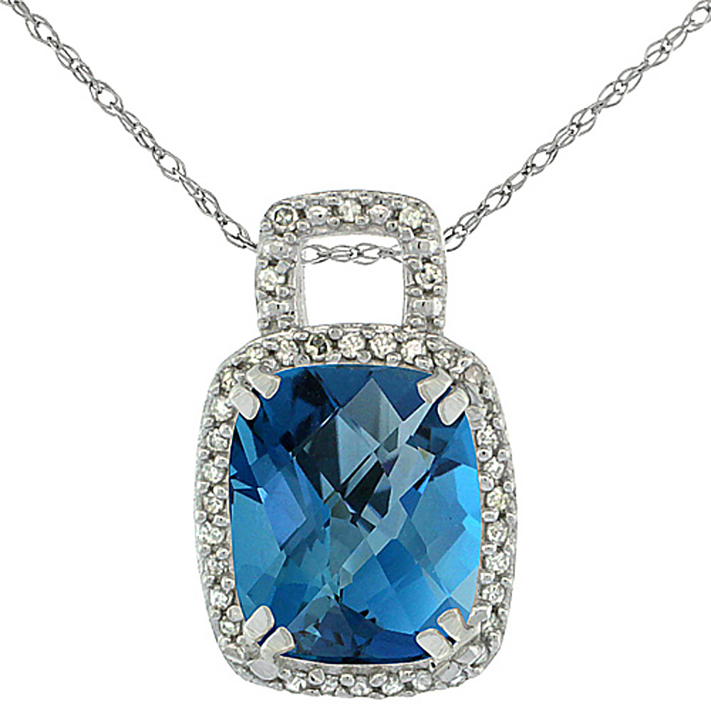 10K White Gold Natural London Blue Topaz Pendant Octagon Cushion 10x8 mm & Diamond Accents