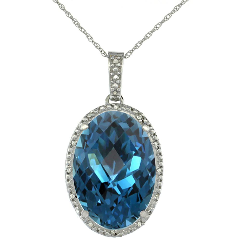 10K White Gold Diamond Natural London Blue Topaz Pendant Oval 18x13 mm