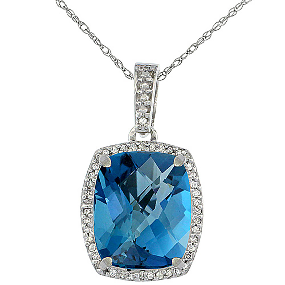 10K White Gold Natural London Blue Topaz Pendant Octagon Cushion 12x10 mm