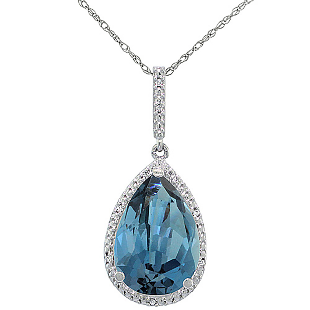 10K White Gold Diamond Halo Natural London Blue Topaz Necklace Pear Shaped 15x10 mm, 18 inch long