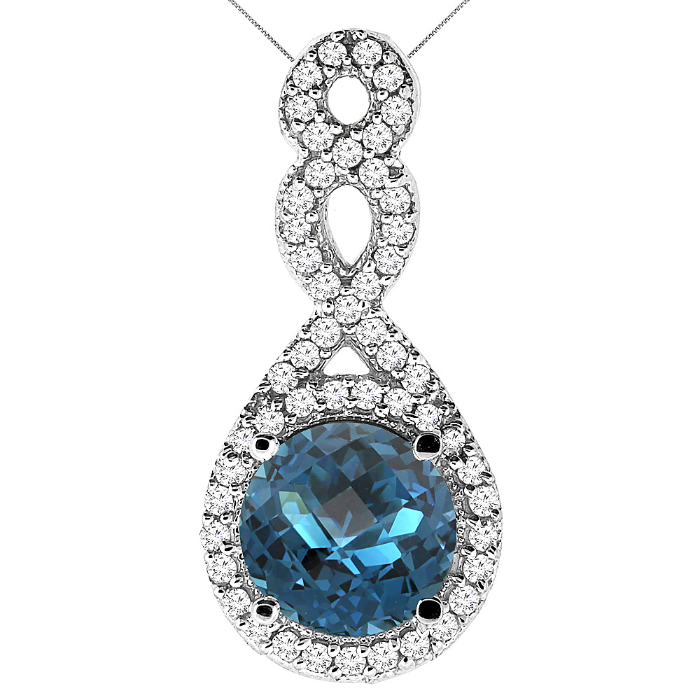 10K White Gold Natural London Blue Topaz Eternity Pendant Round 7x7mm with 18 inch Gold Chain