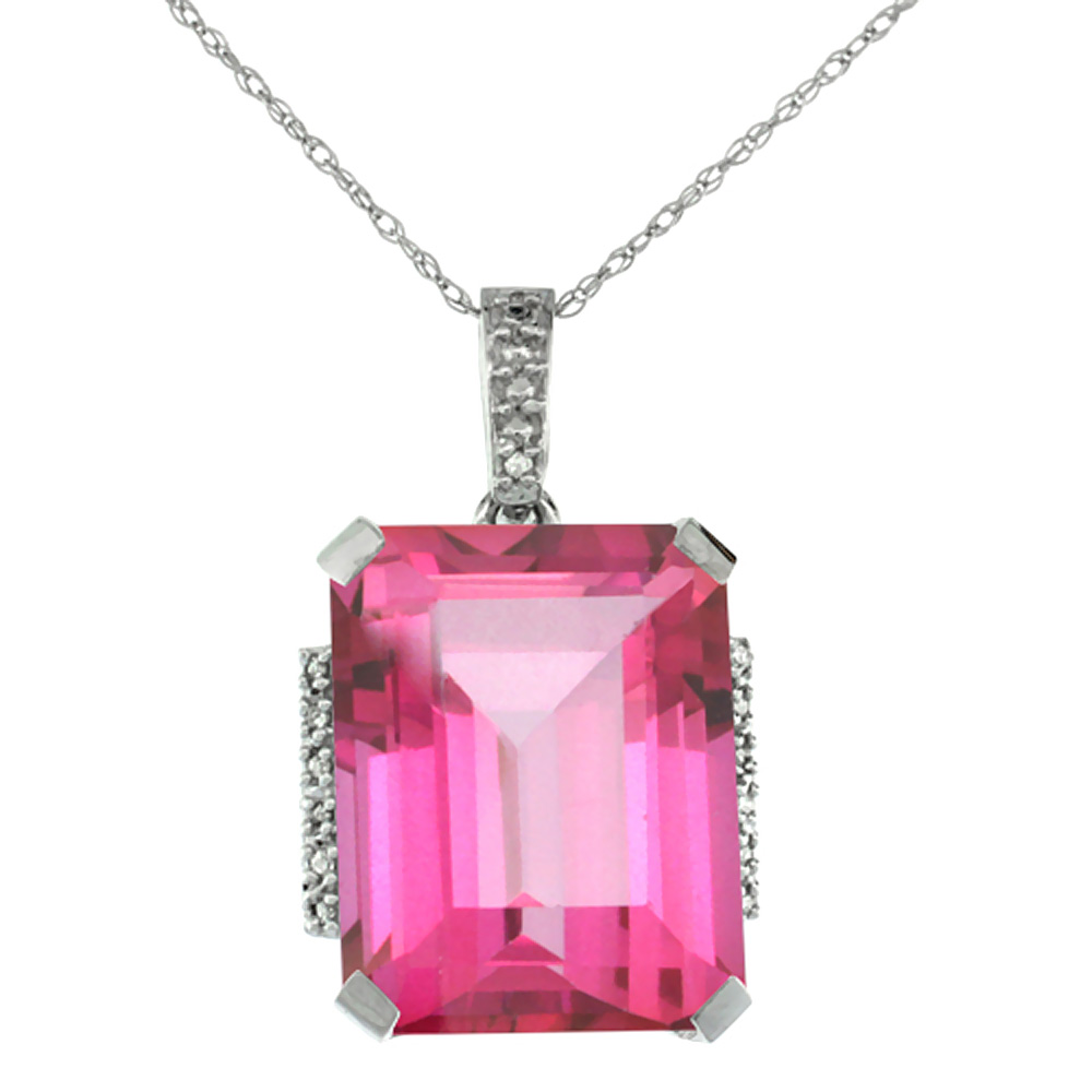 10K White Gold Natural Pink Topaz Pendant Octagon 16x12 mm & Diamond Accents