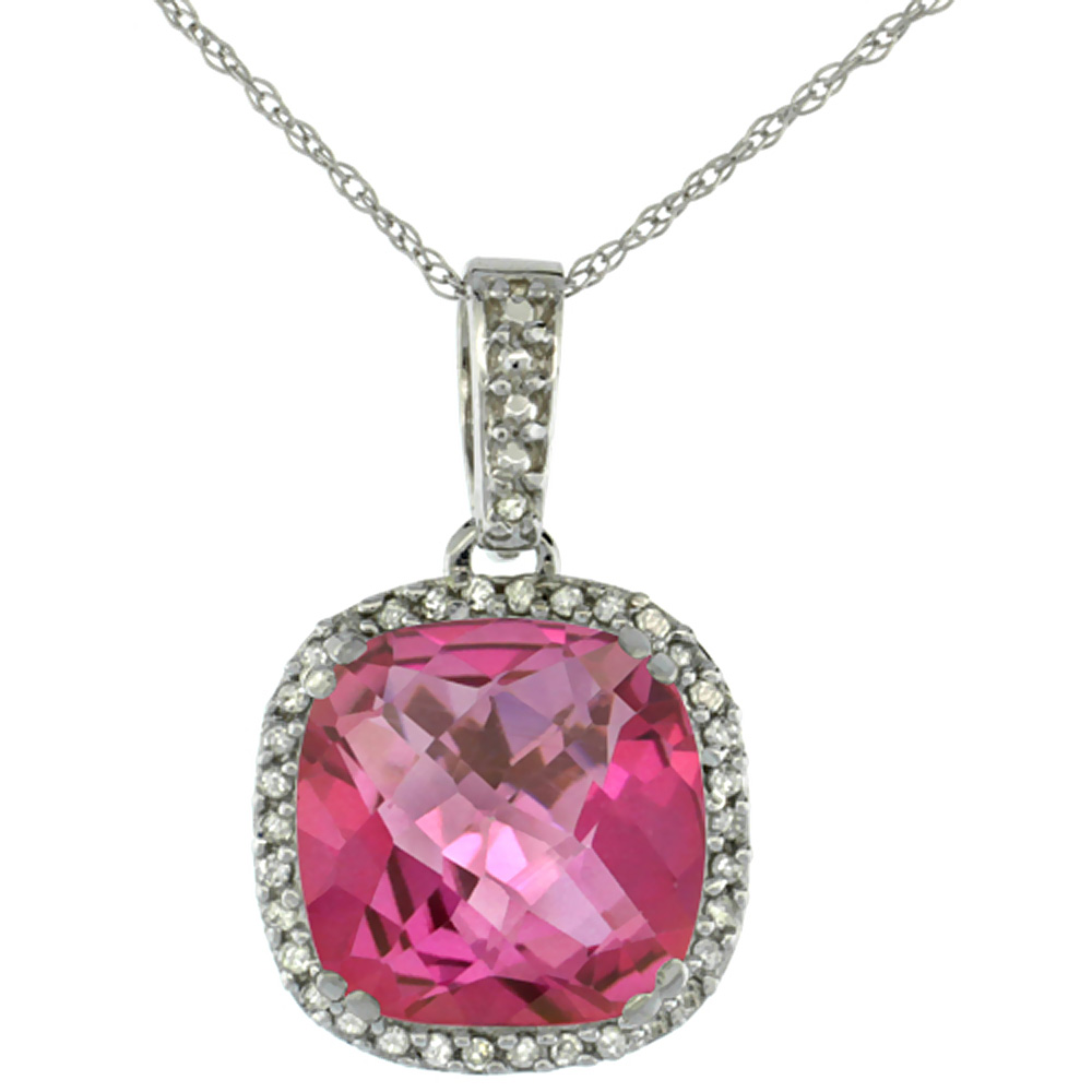10k White Gold Diamond Halo Natural Pink Topaz Necklace Cushion Shaped 10x10mm, 18 inch long