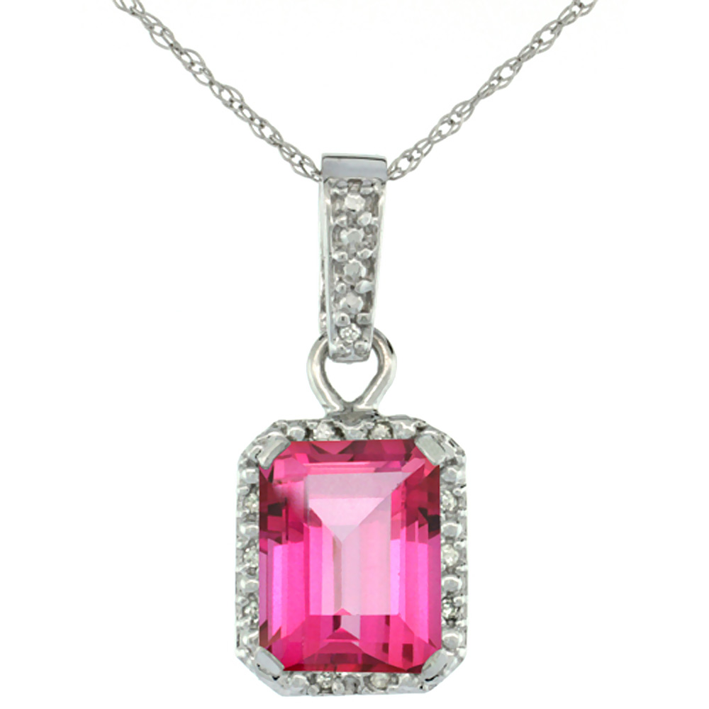 10K White Gold Natural Pink Topaz Pendant Octagon 8x6 mm & Diamond Accents