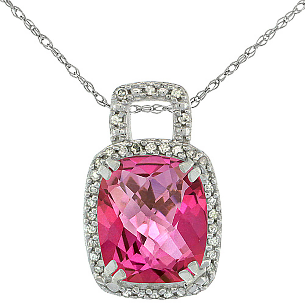 10K White Gold Natural Pink Topaz Pendant Octagon Cushion 10x8 mm & Diamond Accents