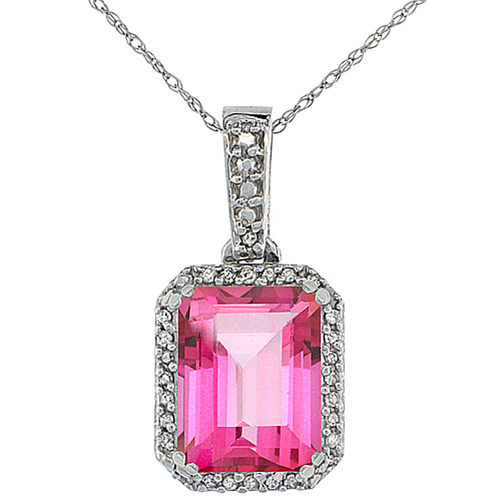 10K White Gold Diamond Natural Pink Topaz Pendant Octagon 9x7 mm