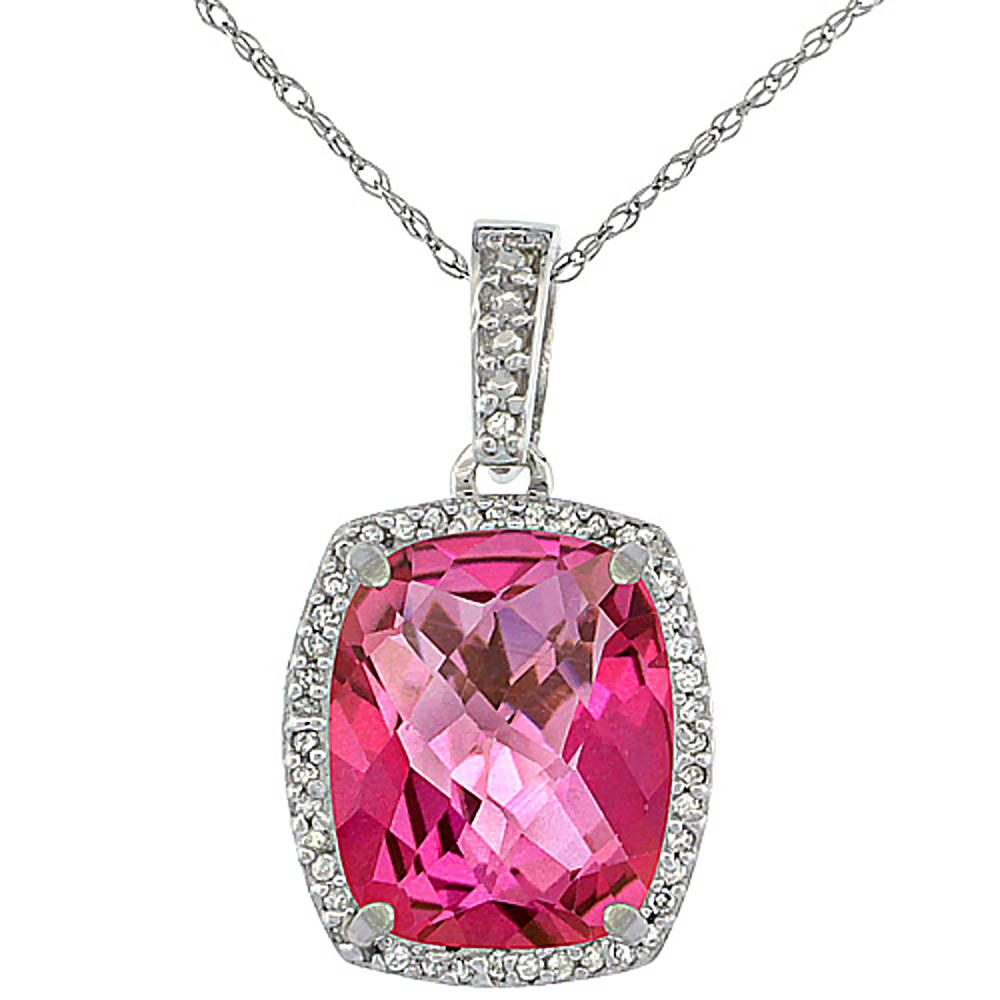 10K White Gold Natural Pink Topaz Pendant Octagon Cushion 12x10 mm
