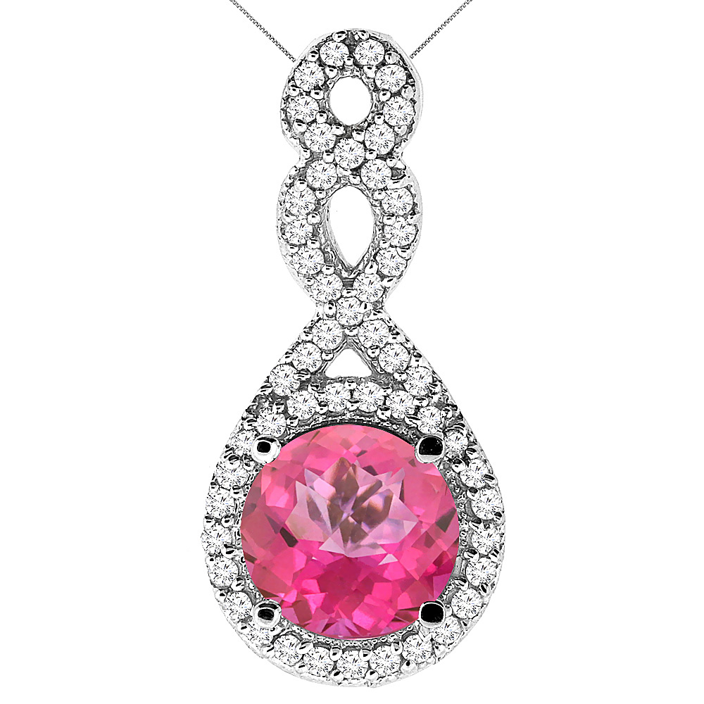 10K White Gold Natural Pink Topaz Eternity Pendant Round 7x7mm with 18 inch Gold Chain