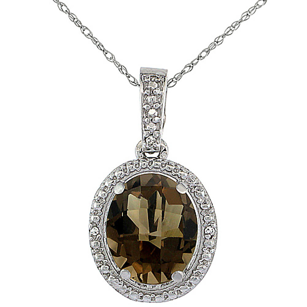 10K White Gold 0.09 cttw Diamond Natural Smoky Topaz Pendant Oval 10x8 mm