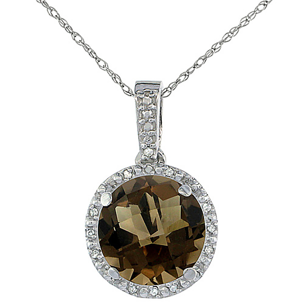 10K White Gold 0.03 cttw Diamond Natural Smoky Topaz Pendant Round 11x11 mm