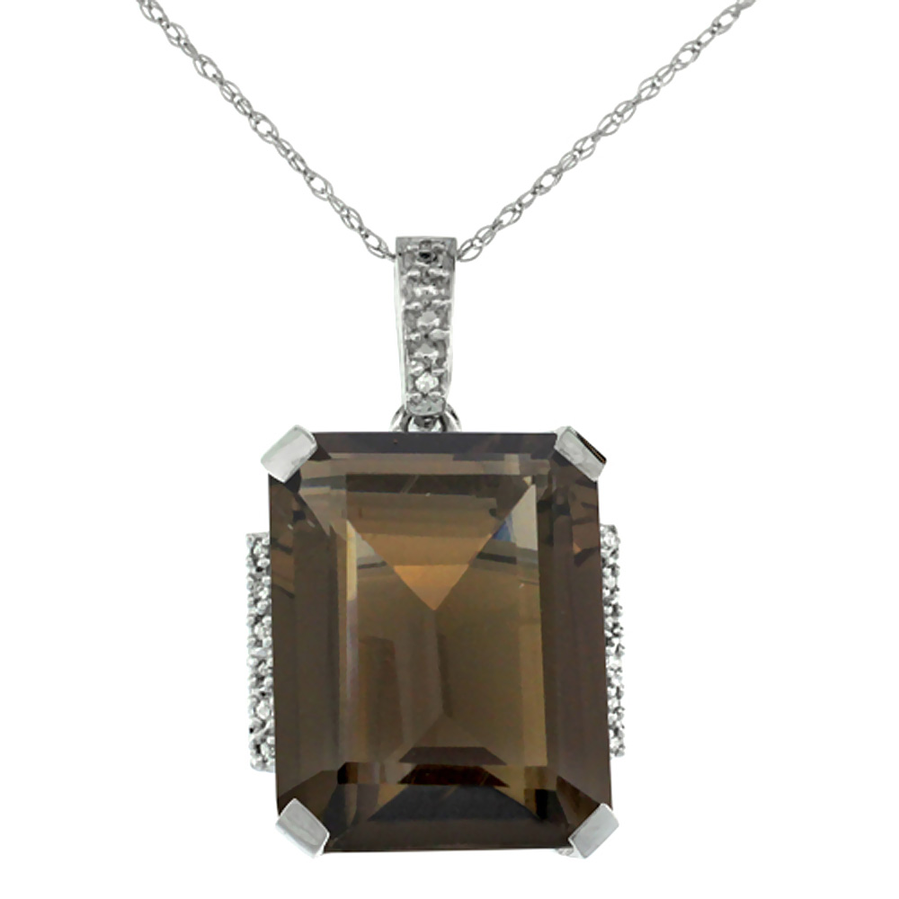10K White Gold Natural Smoky Topaz Pendant Octagon 16x12 mm & Diamond Accents
