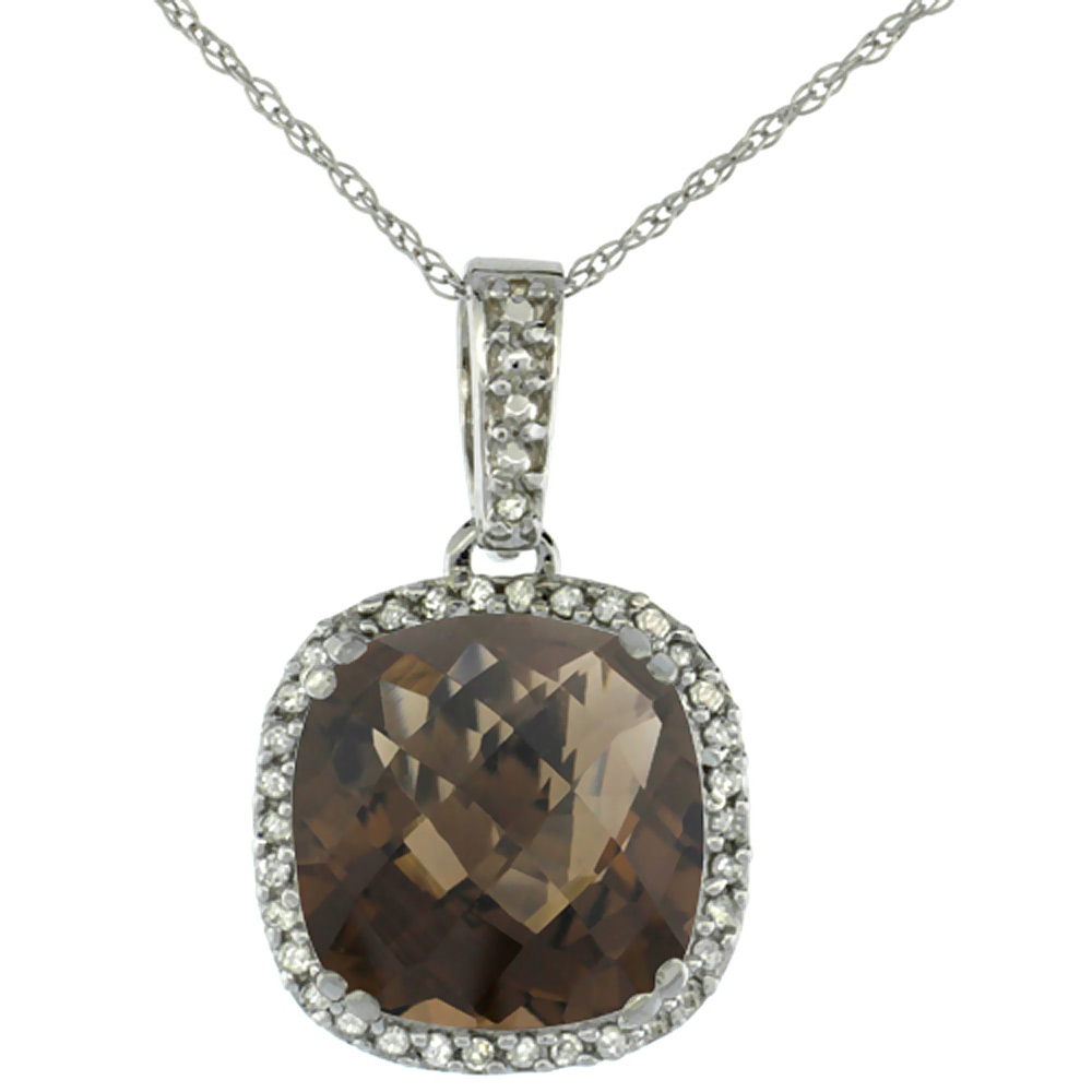 10k White Gold Diamond Halo Natural Smoky Topaz Necklace Cushion Shaped 10x10mm, 18 inch long