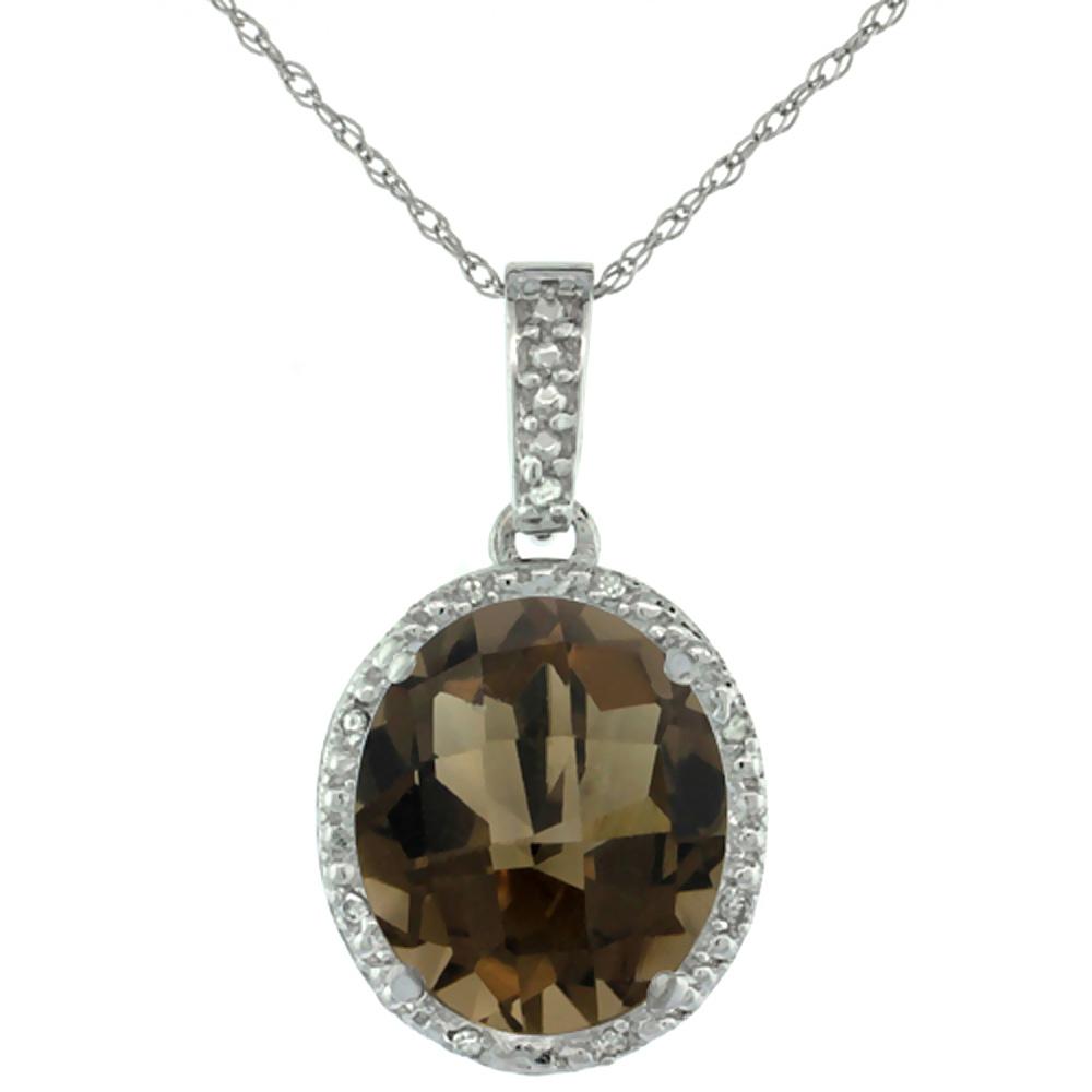 10K White Gold Diamond Halo Natural Smoky Topaz Necklace Oval 12x10 mm, 18 inch long