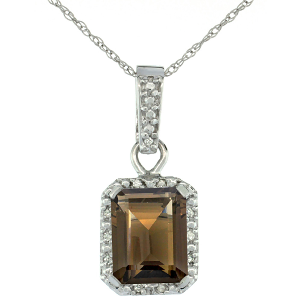 10K White Gold Natural Smoky Topaz Pendant Octagon 8x6 mm & Diamond Accents