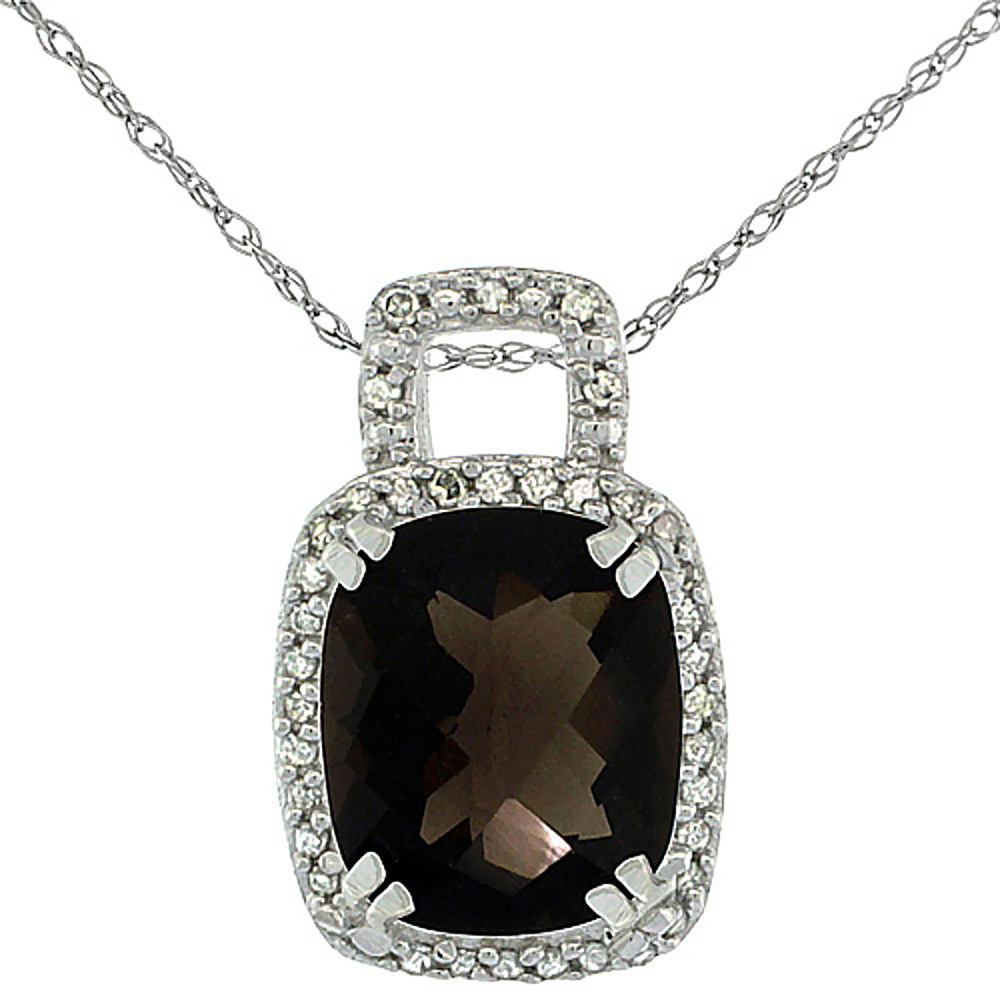 10K White Gold Natural Smoky Topaz Pendant Octagon Cushion 10x8 mm & Diamond Accents