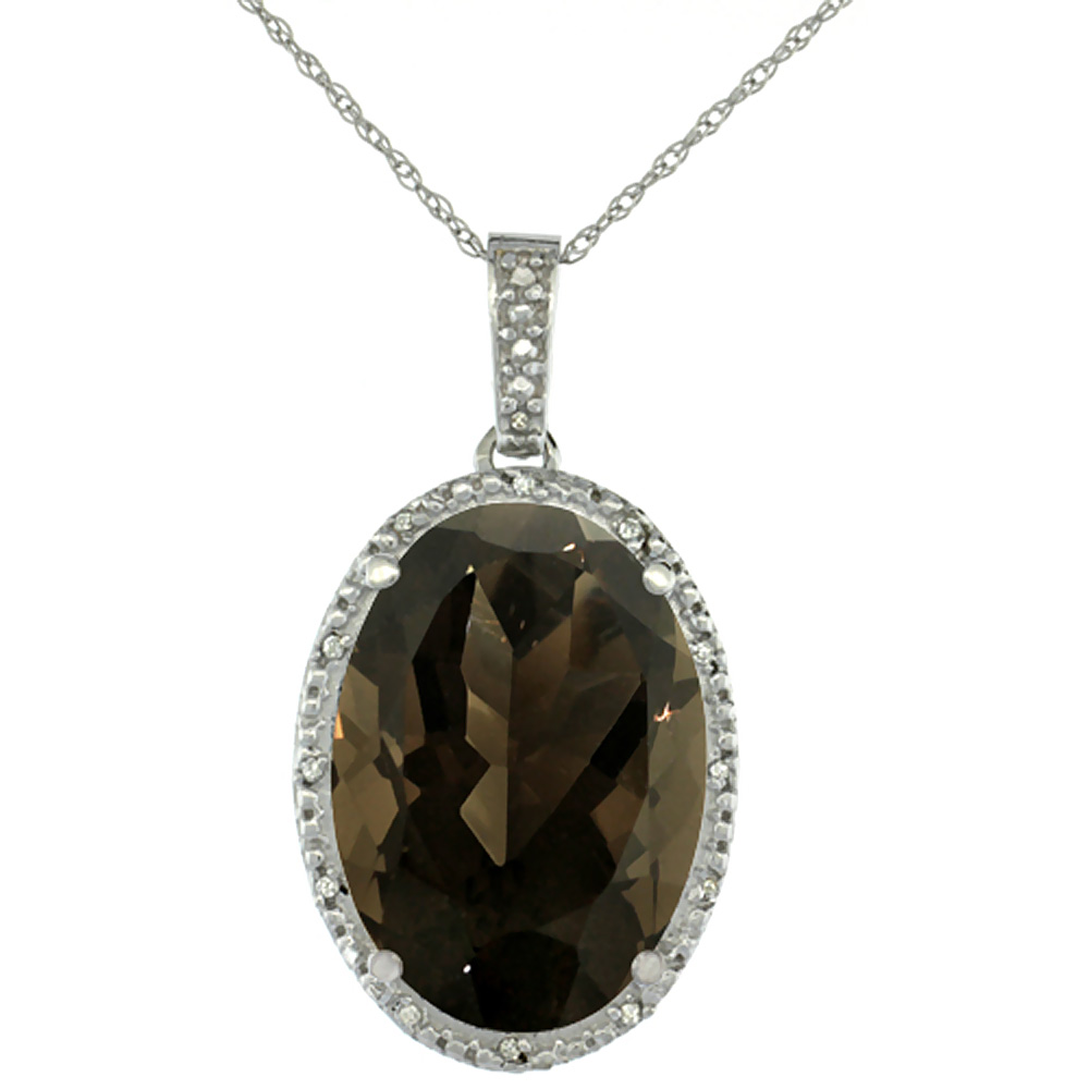 10K White Gold Diamond Natural Smoky Topaz Pendant Oval 18x13 mm