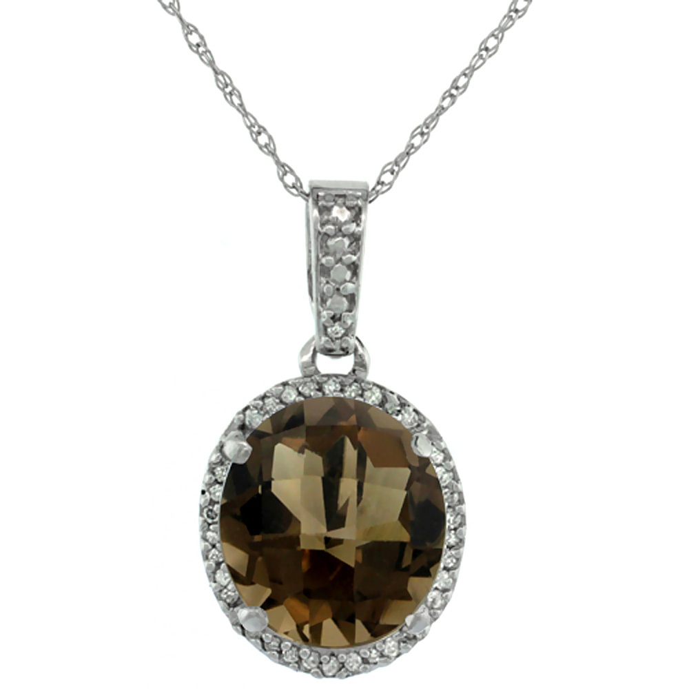 10K White Gold Natural Smoky Topaz Pendant Oval 11x9 mm