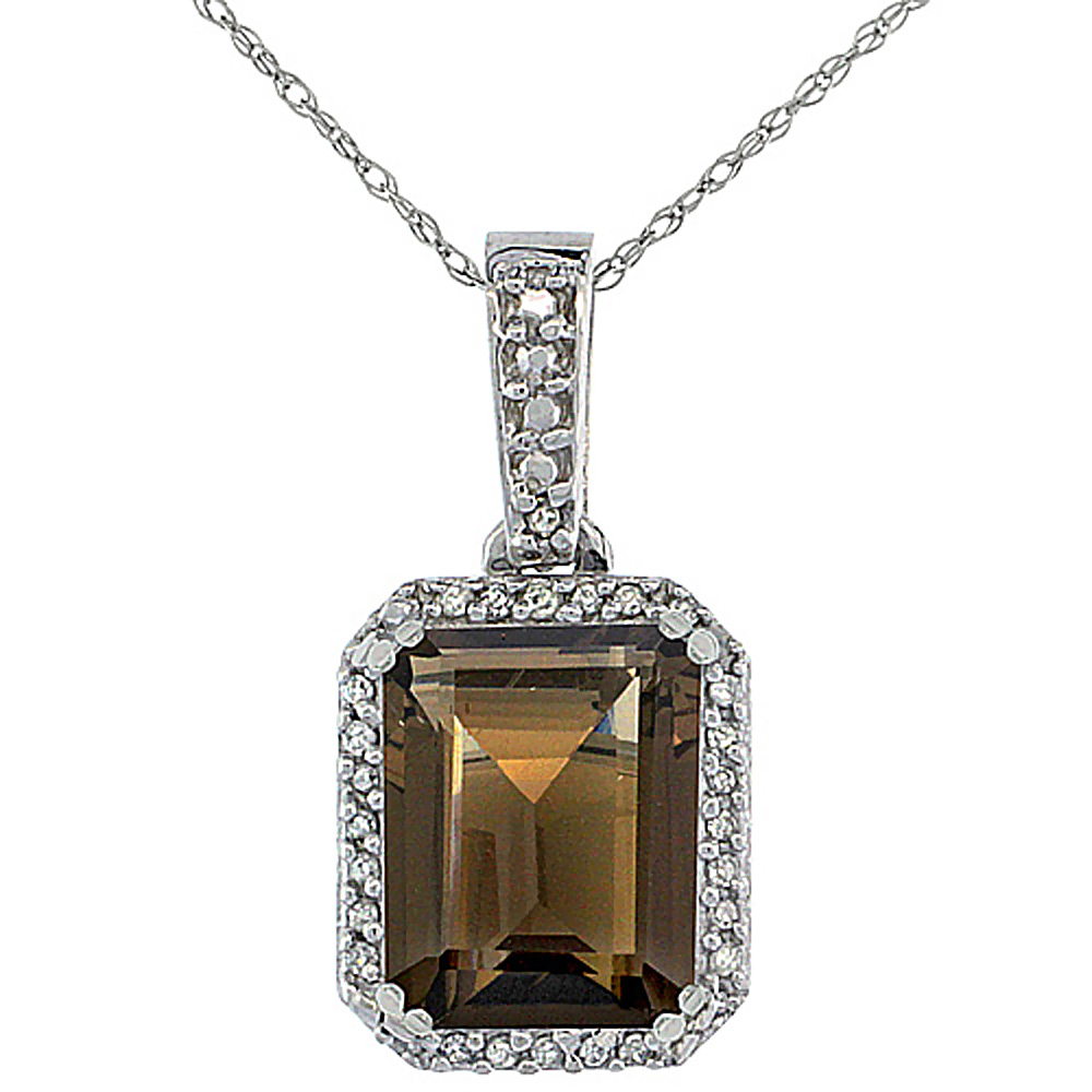 10K White Gold Diamond Natural Smoky Topaz Pendant Octagon 9x7 mm