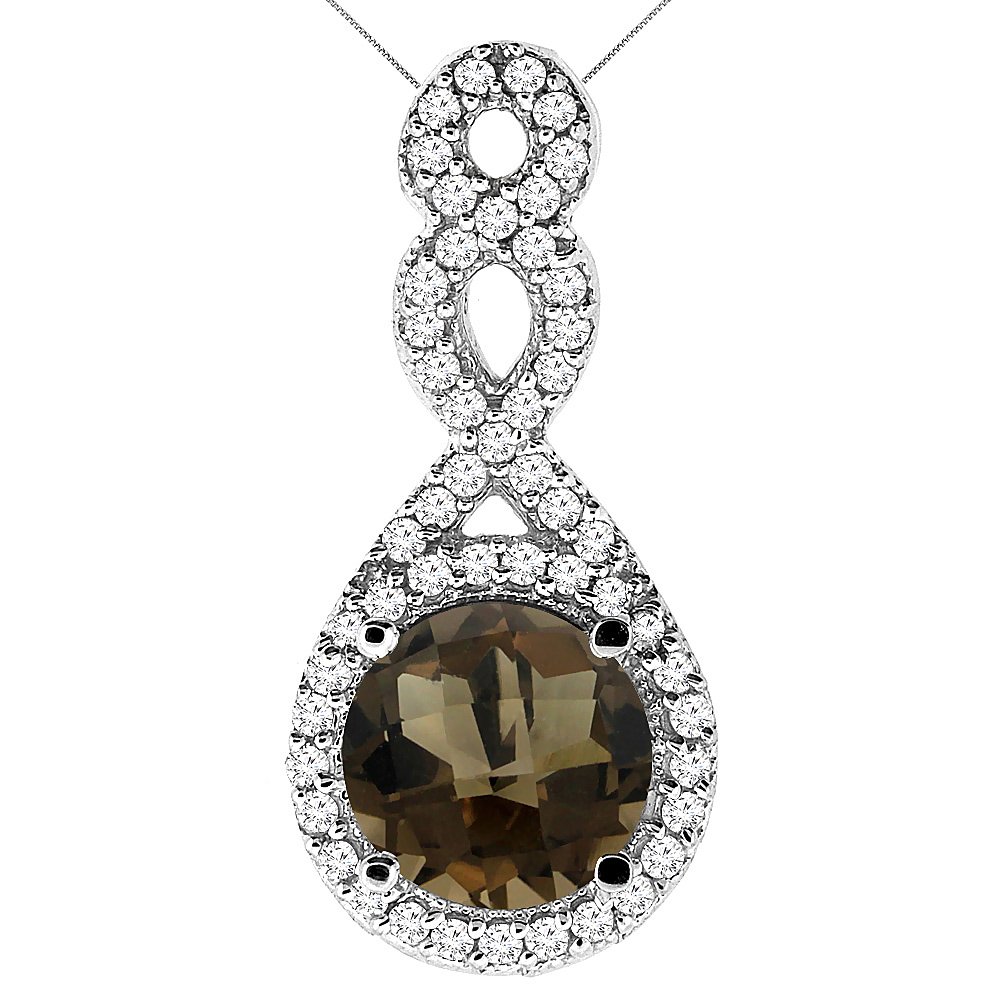10K White Gold Natural Smoky Topaz Eternity Pendant Round 7x7mm with 18 inch Gold Chain