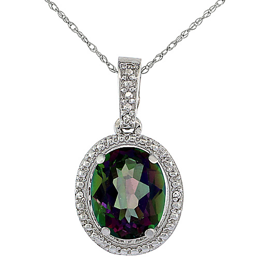 10K White Gold 0.09 cttw Diamond Natural Mystic Topaz Pendant Oval 10x8 mm