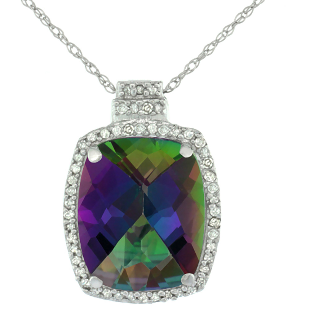 10K White Gold 0.20 cttw Diamond Natural Mystic Topaz Pendant Octagon Cushion 11x9 mm