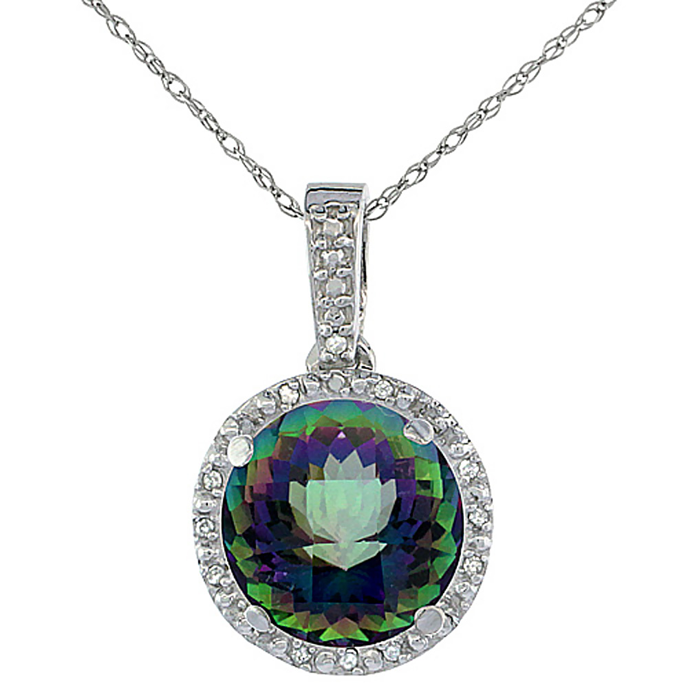 10K White Gold 0.03 cttw Diamond Natural Mystic Topaz Pendant Round 11x11 mm